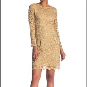 NWT $169 Nanette Lepore LS Gold Lace Dress Size 8